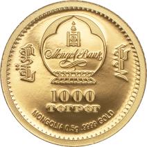 現貨 - 2019蒙古-生命演化系列-中華盜龍-0.5克金幣