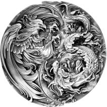 現貨 - 2021查德-永恆羈絆系列-龍與鳳凰-(4盎司銀+11.5盎司銅)銀幣