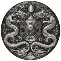 現貨 - 2019吐瓦魯-雙龍搶珠-陰陽八掛-2盎司銀幣(一般版)