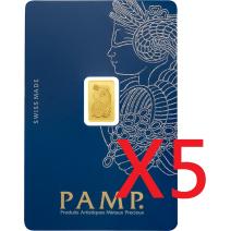 現貨(全台最低價)(限量) - PAMP-財富女神-1克金條(贈絨布盒+提袋) - 5組(再加贈獅王1/100盎司金條)