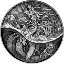 預購(限已確認者下單) - 2021查德-四海龍王系列-北海龍王(黑龍)-敖順-(2盎司銀+11.5盎司銅)銀幣