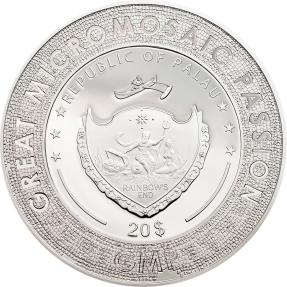 現貨 - 2017帛琉-波提且利-偉大的微馬賽克激情-蒙娜麗莎-3盎司銀幣