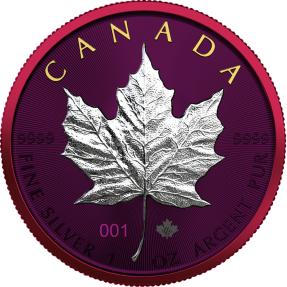 預購(確定有貨) - 2021加拿大-楓葉-太空金屬版-1盎司銀幣