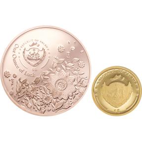 現貨 - 2021帛琉-四葉草-鍍玫瑰金-(1盎司銀幣+1克金幣)-2枚組