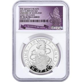 現貨 - 2017英國-蘇格蘭獨角獸-1盎司精鑄銀幣-NGC PF70鑑定幣-Early Releases UC版(英國獅標籤-白底版)