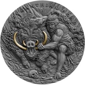現貨 - 2020紐埃-海格力斯的十二項英雄偉績-厄律曼托斯山的野豬-2盎司銀幣