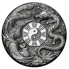 現貨 - 2019吐瓦魯-龍鳳陰陽八掛-2盎司銀幣