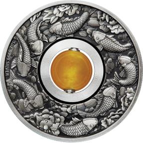 現貨 - 2018吐瓦魯-鯉魚-黃玉-1盎司銀幣