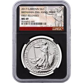 現貨 - 2017英國-大不列顛-20週年紀念-1盎司銀幣-NGC MS69鑑定幣(大不列顛標籤-黑底版)
