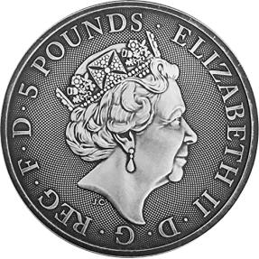 現貨 - 2018英國-皇后野獸系列-黑牛-2盎司銀幣-仿古版