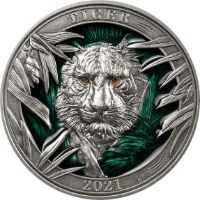 預購(即將到貨) - 2021巴貝多-野生動物色彩系列-老虎-3盎司銀幣