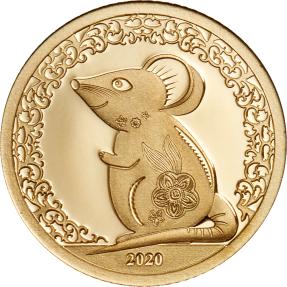 現貨 - 2020蒙古-生肖-鼠年-0.5克金幣