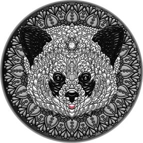 現貨 - 2021紐埃-曼荼羅收藏系列-熊貓-2盎司銀幣