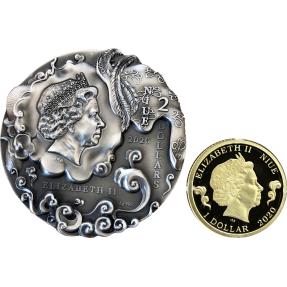 預購(確定有貨) - 2020紐埃-西遊記-孫悟空-2盎司銀幣+0.5克金幣