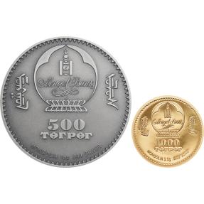 現貨 - 2020蒙古-生命演化系列-盜首螈-(1盎司銀幣+0.5克金幣)-2枚組