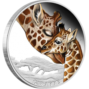 現貨 - 2014澳洲伯斯-母愛系列-長頸鹿-1/2盎司銀幣(有輕微白霧)