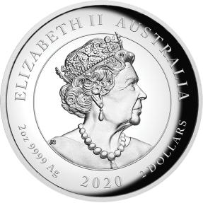預購(確定有貨) - 2020澳洲伯斯-守護獅子-貔貅-2盎司銀幣(高浮雕-精鑄)