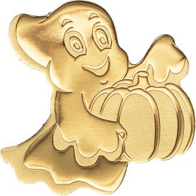 現貨 - 帛琉-特殊形狀黃金系列-金色小幽靈-造型-0.5克金幣