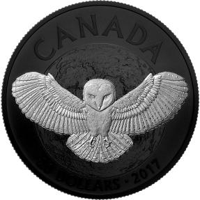 現貨 - 2017加拿大-自然夜曲系列-倉鴞-鍍黑銠-1盎司銀幣