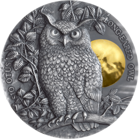 現貨 - 2019紐埃-月光下野生動物系列-長耳鴞-2盎司銀幣