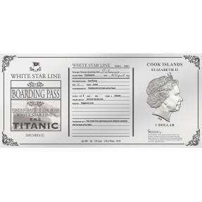現貨 - 2019庫克群島-鐵達尼號-蘿絲的船票-5克銀鈔