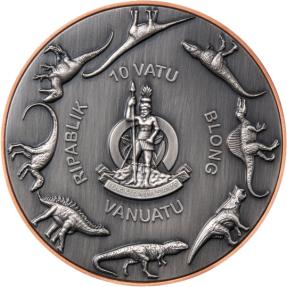 現貨 - 2021萬那杜-雙銀巨人系列-暴龍-(145克銅+2個5克銀)銀幣