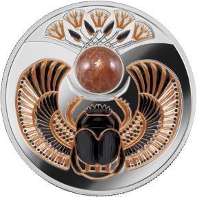現貨 - 2021紐埃-古代的象徵系列-金沙石-太陽聖甲蟲-17.5克銀幣