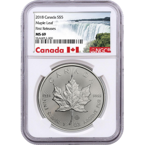 現貨 - 2018加拿大-楓葉-1盎司銀幣-NGC MS69鑑定幣-First Release版-加拿大瀑布標籤