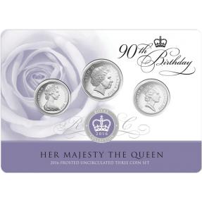 現貨 - 2016伊麗莎白二世女王-90歲誕辰-硬幣3枚組-卡裝
