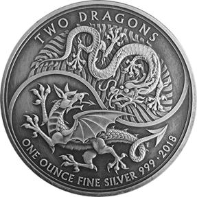 現貨 - 2018英國-雙龍-仿古版-1盎司銀幣