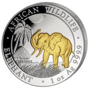 現貨 - 2017索馬利亞-大象-1盎司銀幣-鍍金版