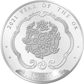 現貨 - 2021不丹-生肖-牛年-1盎司銀幣(普鑄)
