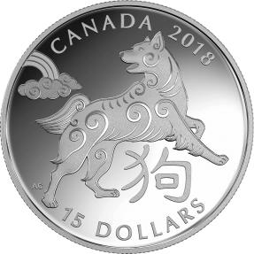 現貨 - 2018加拿大-生肖-狗年-1盎司銀幣
