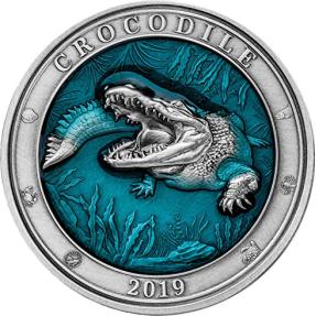 現貨 - 2019巴貝多-水下世界系列-鱷魚-3盎司銀幣