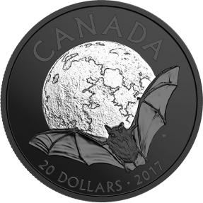 現貨 - 2017加拿大-自然夜曲系列-小棕蝠-鍍黑銠-1盎司銀幣