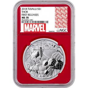 現貨 - 2018吐瓦魯-雷神-索爾-1盎司銀幣(普幣)-NGC MS70鑑定幣-First Release版(Marvel標籤-紅底)