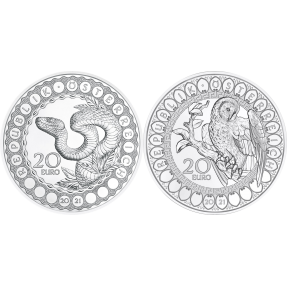 預購(確定有貨) - 2021奧地利-世界之眼系列-22.42克銀幣-(造蛇物主+智慧貓頭鷹)(2枚組含收藏盒)