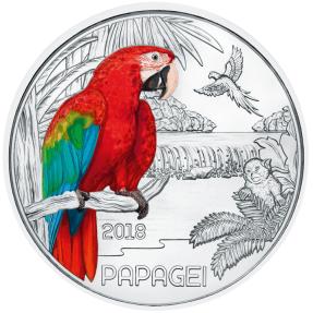 現貨 - 2018奧地利-多彩的生物系列-鸚鵡-第六枚-16克硬幣(銅合金)