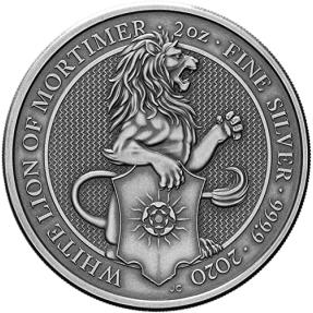 預購(確定有貨) - 2020英國-皇后野獸系列-白獅-仿古版-2盎司銀幣