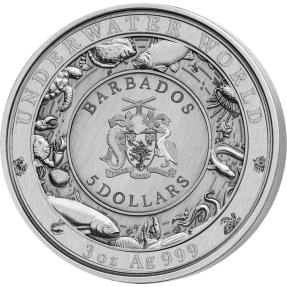 現貨 - 2018巴貝多-水下世界系列-海豚-3盎司銀幣(外盒破損)