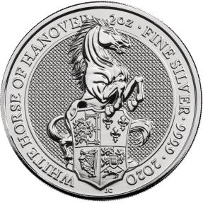 現貨 - 2020英國-皇后野獸系列-白馬-2盎司銀幣(普鑄)(含美國Air-Tites專用塑殼)