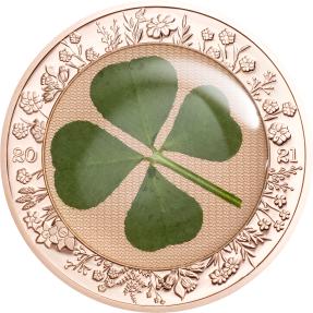 預購(確定有貨) - 2021帛琉-四葉草-鍍玫瑰金-1盎司銀幣