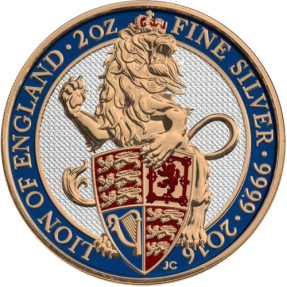 現貨 - 2016英國-獅王-2盎司銀幣-彩色版