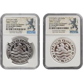 現貨 - 2018荷蘭-塔勒幣-1盎司銀幣+2盎司銀幣-2枚組-NGC PF70 UC鑑定幣-World Money Fair Release版(獅子標籤)