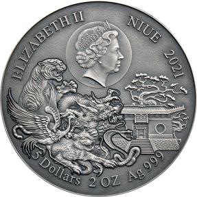 現貨(國際熱門漲價款) - 2021紐埃-武術系列-少林虎拳-2盎司銀幣