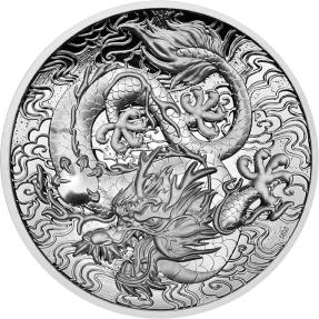 預購(確定有貨) - 2021澳洲伯斯-中國神話傳說系列-龍-高浮雕-2盎銀幣