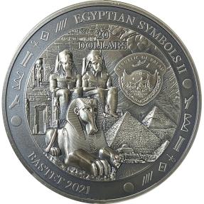 預購(確定有貨) - 2021帛琉-埃及符號II系列-芭絲特-3盎司銀幣