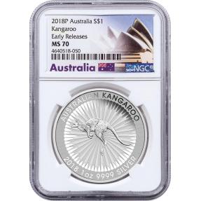 現貨 - 2018澳洲伯斯-袋鼠-1盎司銀幣-NGC MS70鑑定幣-Early Release版-雪梨歌劇院標籤