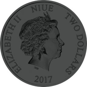現貨 - 2017紐埃-迪士尼-汽船威利號-1盎司銀幣-萬聖節版-紫