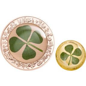預購(確定有貨) - 2021帛琉-四葉草-鍍玫瑰金-(1盎司銀幣+1克金幣)-2枚組